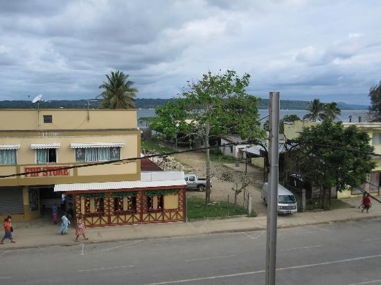 The Espiritu : View form the balcony over the main street to the segond channel and aore island in the back
