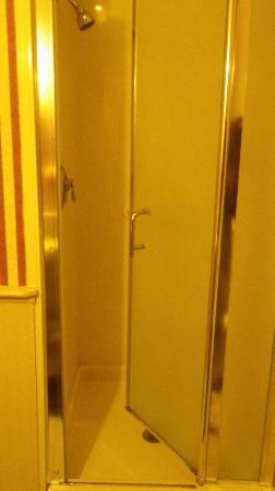ذا بلو دوري إن: shower door that swings in 
