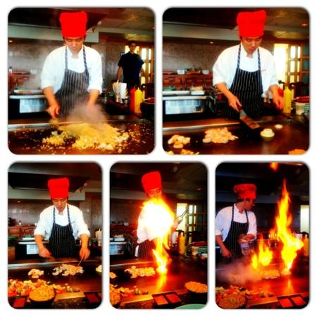 Cherry Blossom Japanese Steak & Seafood: Our chef whipping it up!!
