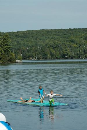 "Blue Moon Retreat: the aqua lily pad - a big hit with ""big kids"" too"