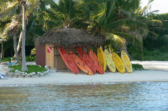 La Beliza Resort: Kayaks waiting to go to the reef