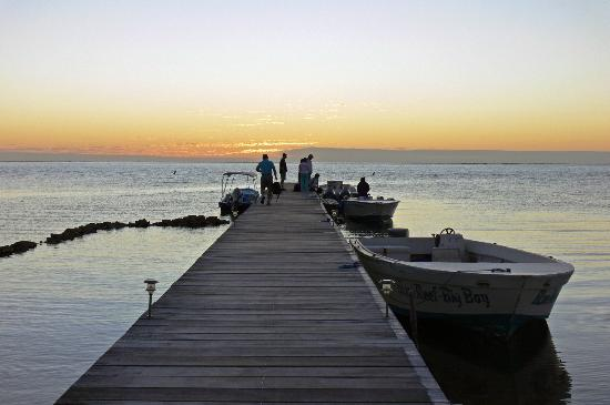 La Beliza Resort: The dock at Blue Reef Resort, early in am.