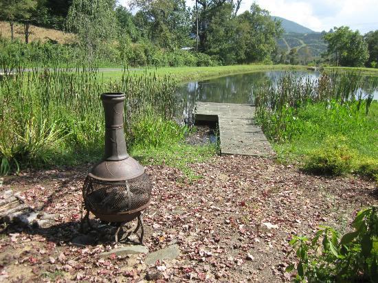 Meadowsweet Gardens Inn: Fireplace with dock on pond