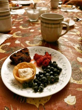 Harbourview Bed & Breakfast: Our 10 pm snack. Fresh picked berries, tarts, cake, and tea