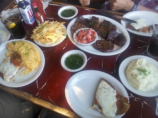 Lala's : (L to R) Milanesa, mashed potatos, fries, meat