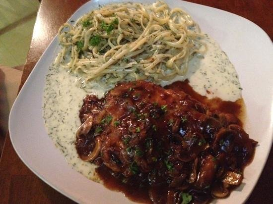 Becks Fresh Mediterranean: Best Chicken Marsala I ever had and the creamy dill linguine was fabulous.