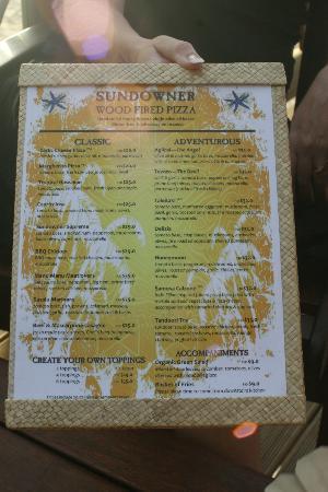 Castaway Island Fiji: pizza menu