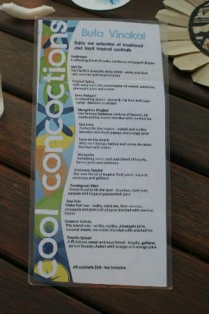 Castaway Island Fiji: drinks list.