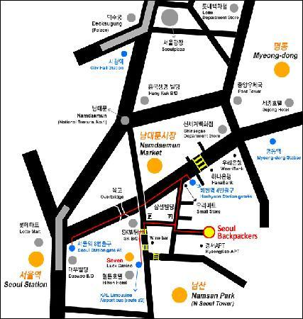 Seoul Backpackers: map