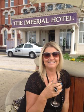 The Imperial Hotel : sat outside looking out to sea