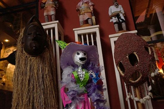 Casa de la Cuesta: some of the masks outside the dining room