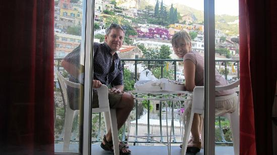 Venus Inn B&B Positano: Having Dinner on the Balcony (Take Away from Gippy's Family's Rest.)