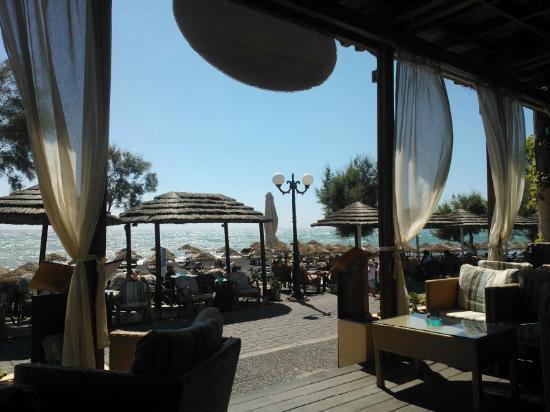Levante Beach Hotel: Ecco la vista verso il mare da un tavolino dell'ampio bar. Sulla camminata ristoranti e souvenir