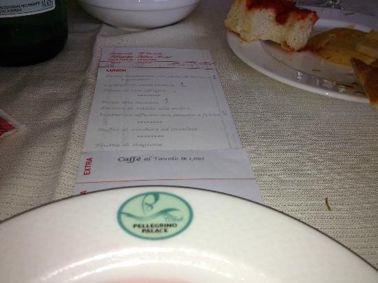 Pellegrino Palace Hotel: menu'