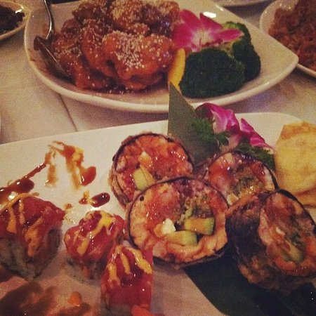 Tsang's Village Cafe: Sushi Rolls and Sesame Chicken