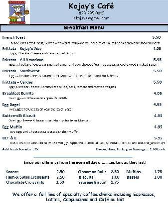 Kojay's Eatery & Coffeehouse: Breakfast Menu