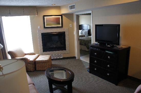 Homewood Suites Alexandria: salon avec cheminée