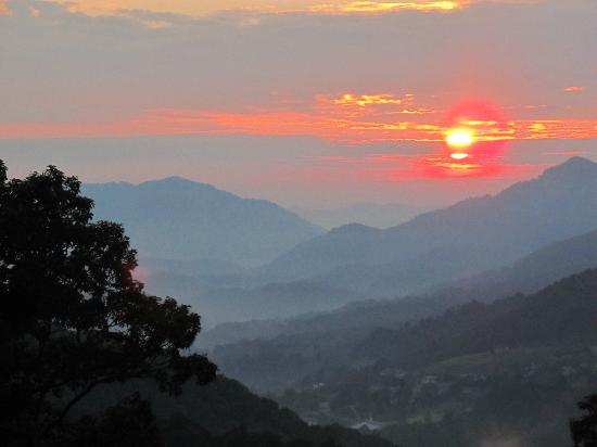 The Yellow House on Plott Creek Road: Sunrise from BRP looking toward Waynesville.