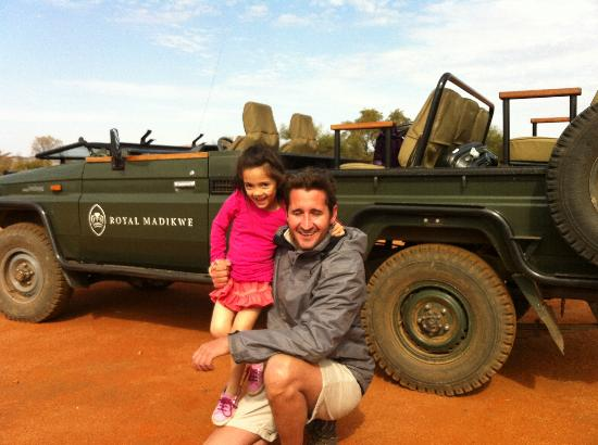 Royal Madikwe Luxury Safari Lodge: Our safari guide Adam with our five-year old daughter