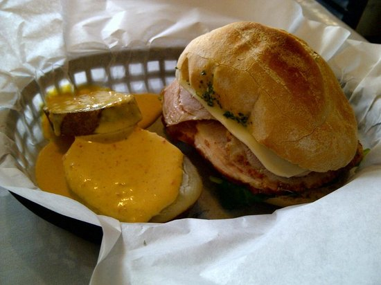 Cafe Rumba: Sanguche Pervano has egg, cheese, spinach, and Peruvian ham. With warm potato slices and spicy s