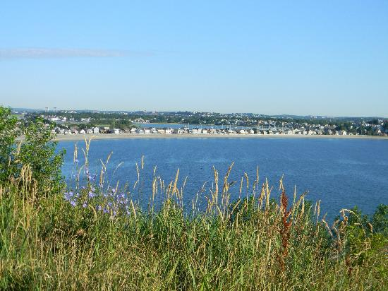 Deer Island HarborWalk: View of the beach from the hill