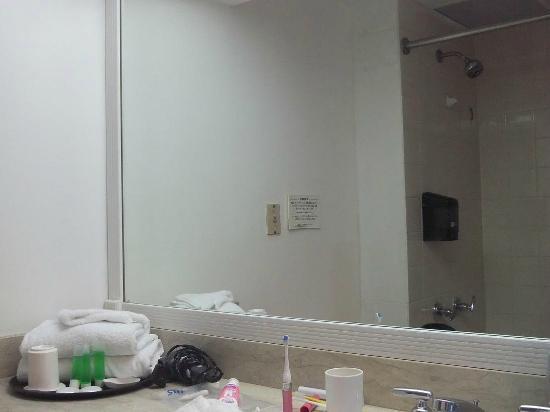 Grand Plaza Hotel: 普通の安ホテルのバスルーム。固定シャワーと最小限のアメニティ。
