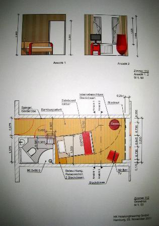 Novum Hotel Arosa Essen: Picture on the wall of plan/layout of new room design