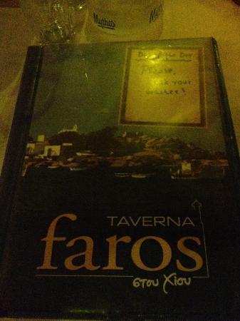 Taverna Faros stou Chiou: menu