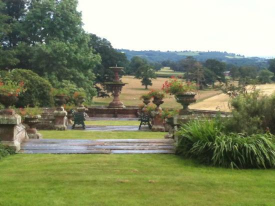Staffield Hall: formal garden from the sitting room - Manor Hall