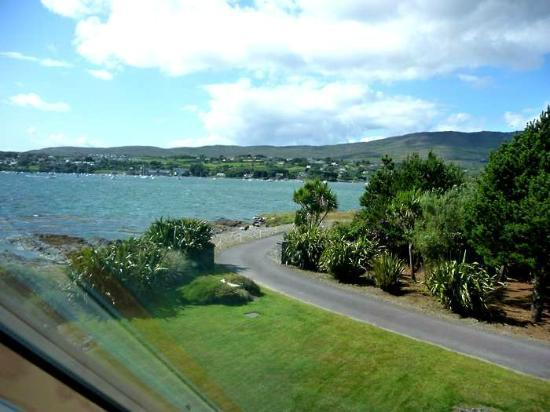 Waters Edge Accommodation: The road to Water's Edge with Schull across the bay