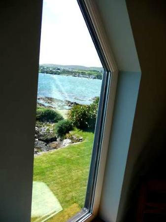 Waters Edge Accommodation: View of bay and Schull beyond through side window of bedroom