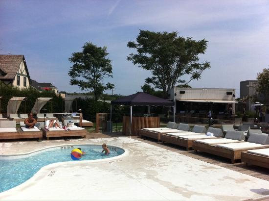The Montauk Beach House: The pool and sunbeds....