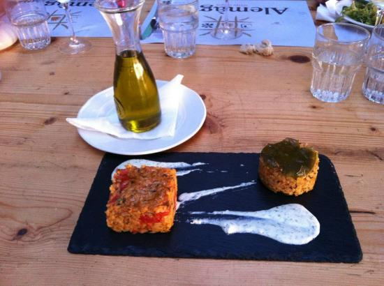 """Alemagou Beach Bar: """"Deconstructed"""" stuffed tomato and pepper + notice lonely tbone steak getting cold on the top r"""