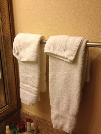 Ramada Harrisburg: Towels mismatch and tossed on the bar. Why?