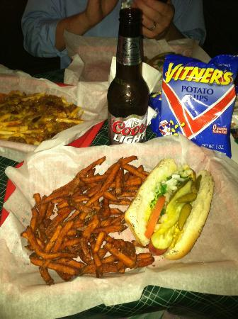 Pippin's Tavern: A cold brew, sweet potato fries and a Chicago Dog.