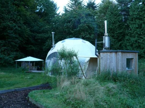 Dome Garden: View of Dome'itory (Kitchen on left, Bathroom hut on right)