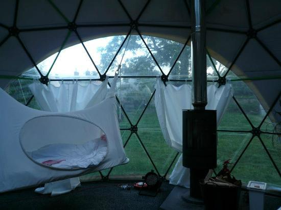 Dome Garden: Inside Dome with hanging bed and wood stove