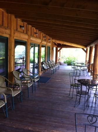 Sylvan Dale Guest Ranch: the reception hall back porch. 
