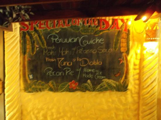 El Sano Banano Restaurant: The Daily Specials the day we went
