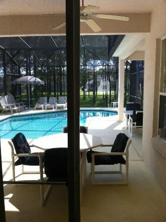 Looking out to the pool from hall