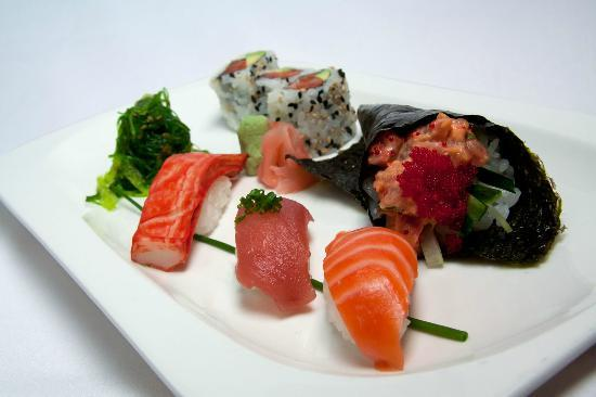 Four: Sushi lunch platter with three maki, three nigiri, handroll and seaweed salad