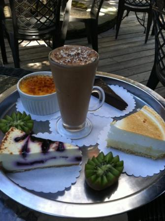 The Blue Coral : lunch dessert menu, we got the keylime pie and mint chocolate mousse