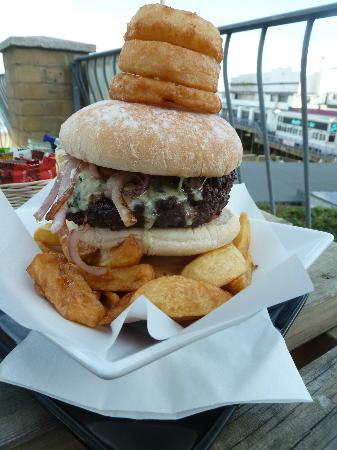 Flanagan's: The best burger on the island, with stilton and onions.