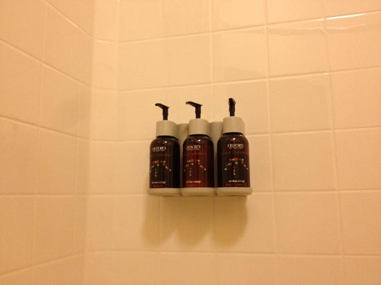 Oxford Suites Spokane Valley: Shower Amenity Pumps - Fresh Orange Scent