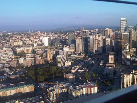Four Points by Sheraton Downtown Seattle Center: View from the space needle: Hotel is in lower left corner.