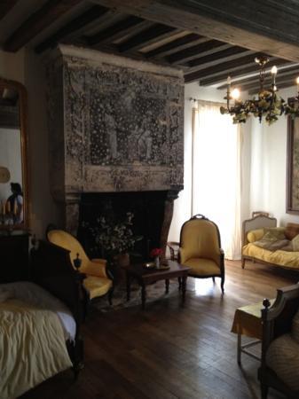 Chateau de Boiscoursier: chambre king size et sa fresque