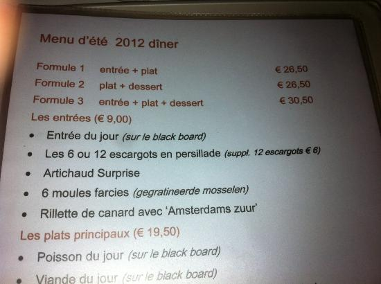 The French Cafe : menu'