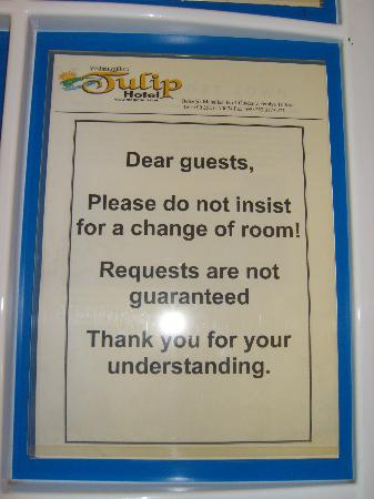 Magic Tulip Oludeniz: Warning board about no room changes