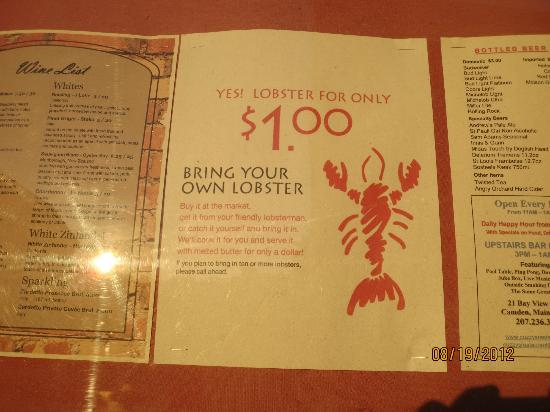 Cuzzy's Restaurant: lobster special