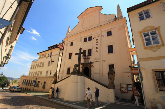 Main Hotel Entrance of the old Prague Questenberk Palace from 16th century.